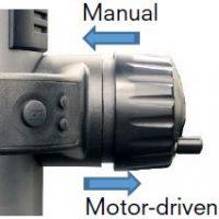 Seleccione el modo de avance, modo manual o motorizado.